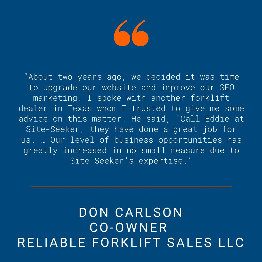 Reliable Forklift - Testimonial Quote for SSI Website