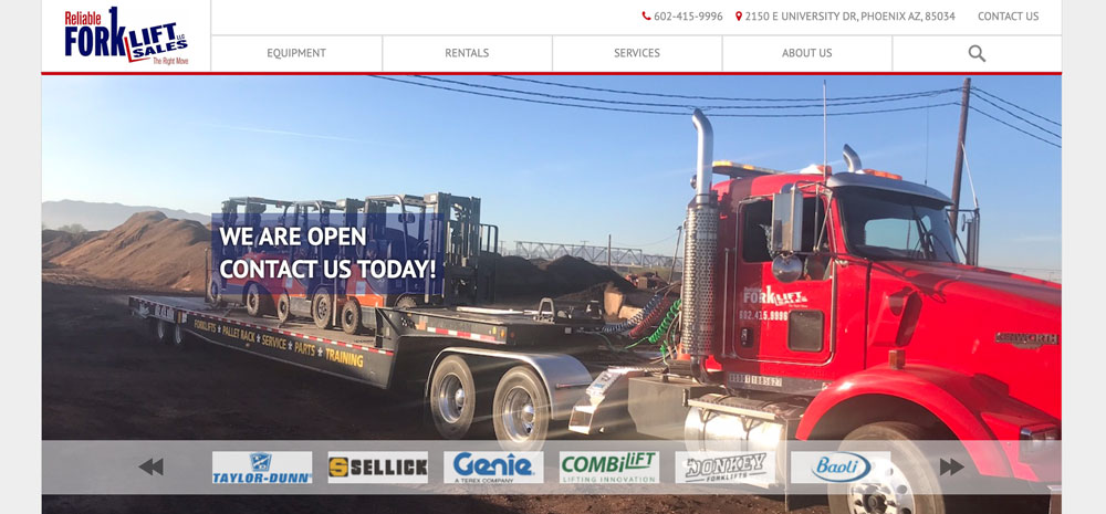 Reliable-Forklift-Homepage-Screenshot
